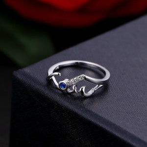 Hot New Women's Fashion Creative Hollow Love Blue Diamond Ring Couple Rings Jewelry