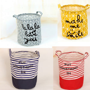 ZAKKA Cotton Linen Round Storage Bag Portable Opening Bags Home Furnishing Grocery Bag