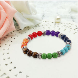 7 Gemstone Crystal Chakra Lava Rock Stone Reiki Amethyst Bead Bracelet Bangle