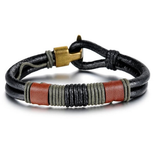 Fashion Jewelry Leather Bracelet Bangle for Men Women Black Fabric Genuine Leather Wristband Bangle