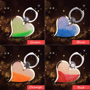 Love Heart Pattern Liquid Quicksand Phone Holder Ring Buckle Bracket for Cell Phone(Random color)