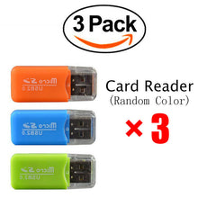 3Pcs Memory Card Reader USB 2.0 For Micro SD TF Card Support 64GB(Random Color)