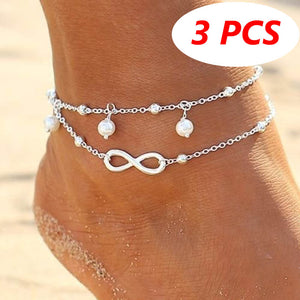 3 PCS Women Double Chain Ankle Fashion Anklet Bracelet Barefoot Sandal Beach Foot Gift