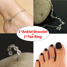 Vintage Toe Ring and Anklet Bracelet Chain Set Women Body Jewelry Accessories