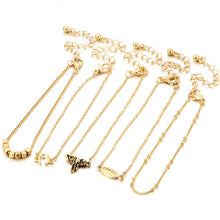 5Pcs Multi-layer Blend of Small Squares Alloy Anklet Elephant Bracelet