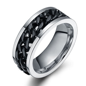 8mm Personalized 316L Titanium Steel Mens Ring with Black Rotating Chain