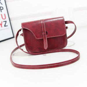 Women Fashion Retro Synthetic Leather Mini Solid Handbag Cross Body Shoulder Bags