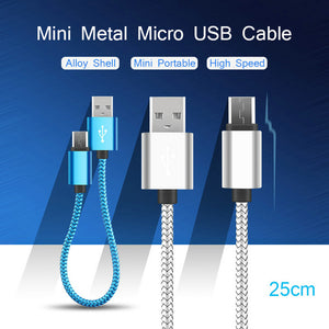 25CM Mini Metal Micro USB Cable Colorful Mobile Phone Cable for Samsung/Xiaomi/Android(Color Random)