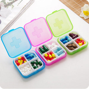 1 PCs Portable 4 Cells Pocket Pill Medicine Box Storage Case Organizer Pill Box