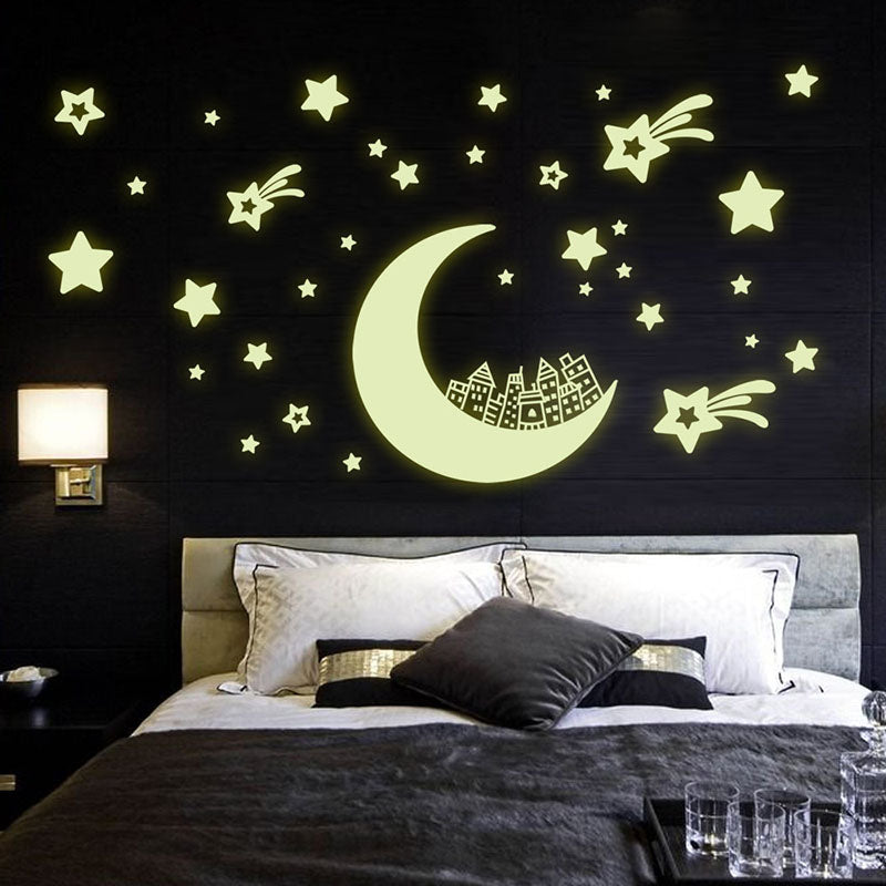 Home Decor City And Moon Luminous Wall Decorative Sticker For Home Decoration