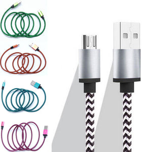1pcs 2M Metal Nylon Serpentine Braided Micro USB Data Cable Mobile Phone Charger Cord Adapter Data Sync Cable Android Smart Phone Accessories