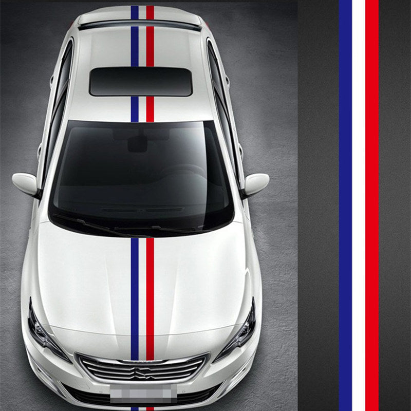 1pcs 15cm*1m Tricolor Decorative Car Stickers French Flag Bumper Sticker Car Hood Sticker Car DIY Decoration for All Cars Can Be Arbitrarily Cut