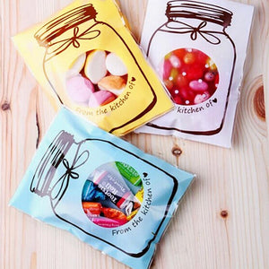 100 Pcs/Set Self Adhesive Candy Bags Transparent Cookie Gift Pouch Wedding Party Birthday Accessories 10*7cm Color Random