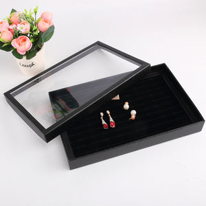 Home Gadgets 100 Slots Ring Organizer Stud Earrings Storage Box With Cover Jewelry Display Box Black