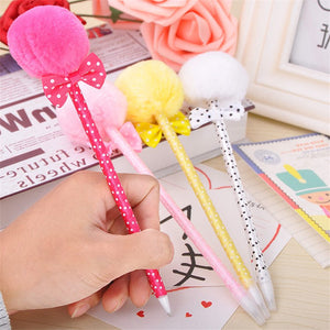 3 Pcs/Set Cute Plush Ball Style Ball Point Pen Bow Knot Ball Pen For Writing Drawing School Office Supplies