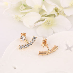 New Fashion Women Simple Temperament T Shaped Crystal Hanging Stud Earring Double Used Earring