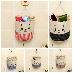 Simple Style Brand  New Lovely cat Cotton Cloth Cartoon Small Hanging Storage Bag Debris Pouch Wall Multilayer Combination