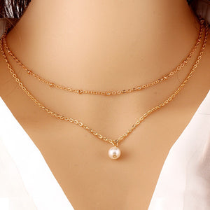 Women's Fashion Multilayer Charm Pearl Pendant Necklace Jewelry Sweater Chain Pendant Necklace