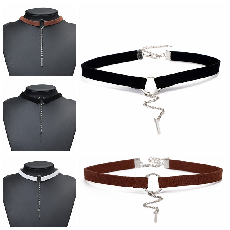 Punk New Fashion Leather Choker Necklace Silver Plated Geometry With Round Pendant Collar Necklace For Women Girls