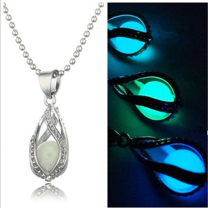 Fashion Glow In The Dark Necklace Can Open Hollow Spiral Drops Of Luminous Choker Necklace Mermaid Necklace Jewelry For Unisex