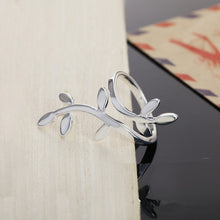 New Fashion Bijouterie Silver Plated A Branch Of Tree Leaves Mid Finger Ring Adjustable Jewelry Gift