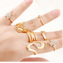 7 Pcs/set Shiny Punk Style Gold plated Stack Band Stars Clovers Cross Female Mid Finger Knuckle Ring Sets for Women Jewelry