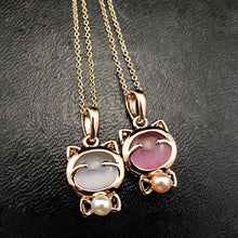 Women's Fashion Pearl Crystal Cute Cat Pendant Chain Necklace Clavicle Chain Jewelry Accessories