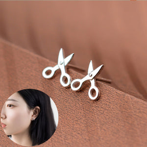 1 Pair New Arrival Creative Simple Design Silver Plated Small Scissor Stud Earrings Jewelry For Women