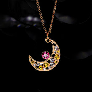 Hot New Women's Fashion Gold Plated Inlaid Zircon Chain Necklace Luxury Exquisite Diamond Moon Pendant Necklace Jewelry
