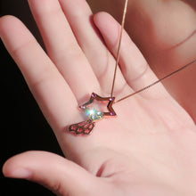 Women's Fashion Exquisite Hollow Five-Pointed Star Heart Shaped Diamond Studded Crystal Pendant Necklace Charm Chain Necklace