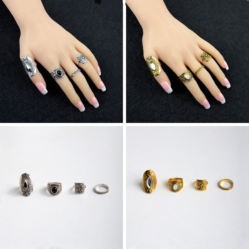 New Fashion 4 Pcs/Set Bohemian Style Vintage Gemstone Finger Ring Set Carved Pattern Rings Jewelry For Women