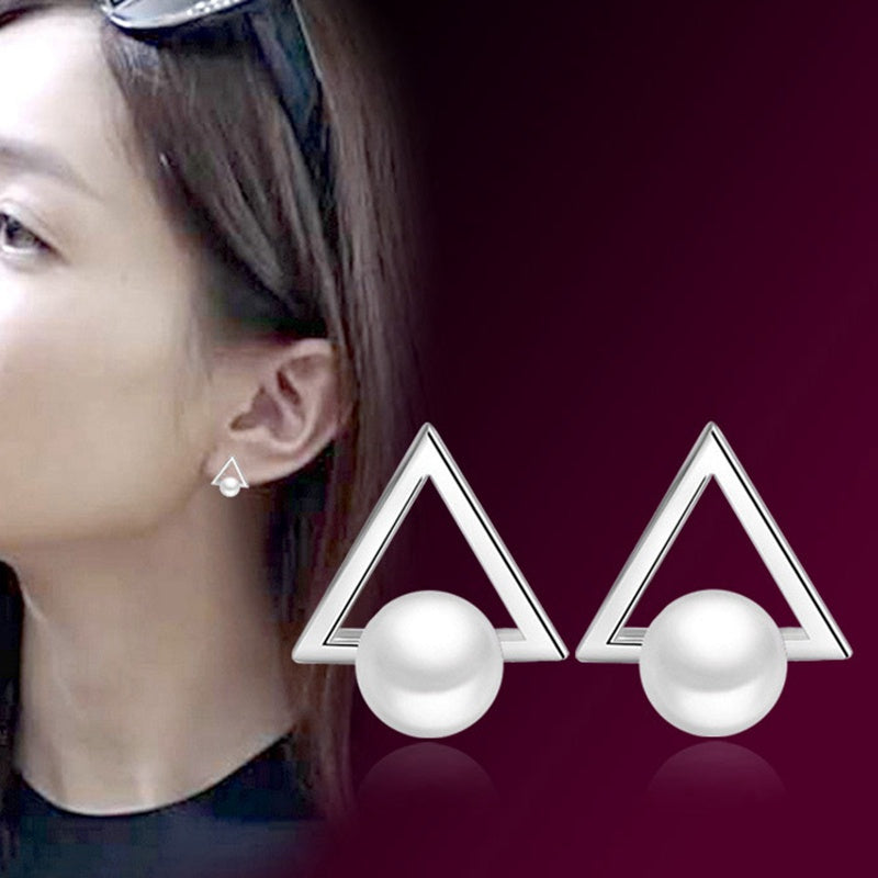 2 Pcs Korea Style Women Retro Triangular pearl silver stud earrings Simple Design Earring Jewelry for Gifts