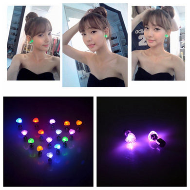 1 Pair Light Up Heart-shaped Stainless Steel LED Flashing Earrings Studs