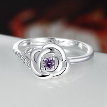Women Fashion Rose Flower Round Elegant 925 Sterling Silver Diamond Wedding Bridal Ring jewelry