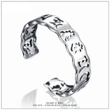Men Fashion Sterling Silver Open Ring Creative Scripture Character Religious Elements Hollow Adjustable Ring