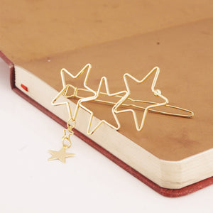 1 Piece Bohemia Godness Gold Hollow Stars Hair Clip Headband Tassel Hairpin Accessory