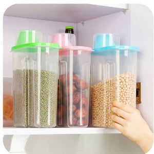New Fashion Transparent Plastic Storage Box Dry Dried Food Storage Box Clear Cereal Container Box 1.9L