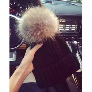 New Fashion Women European Pop Winter Hat Knitted Wool Thick Warm Ovo Ball Beanies