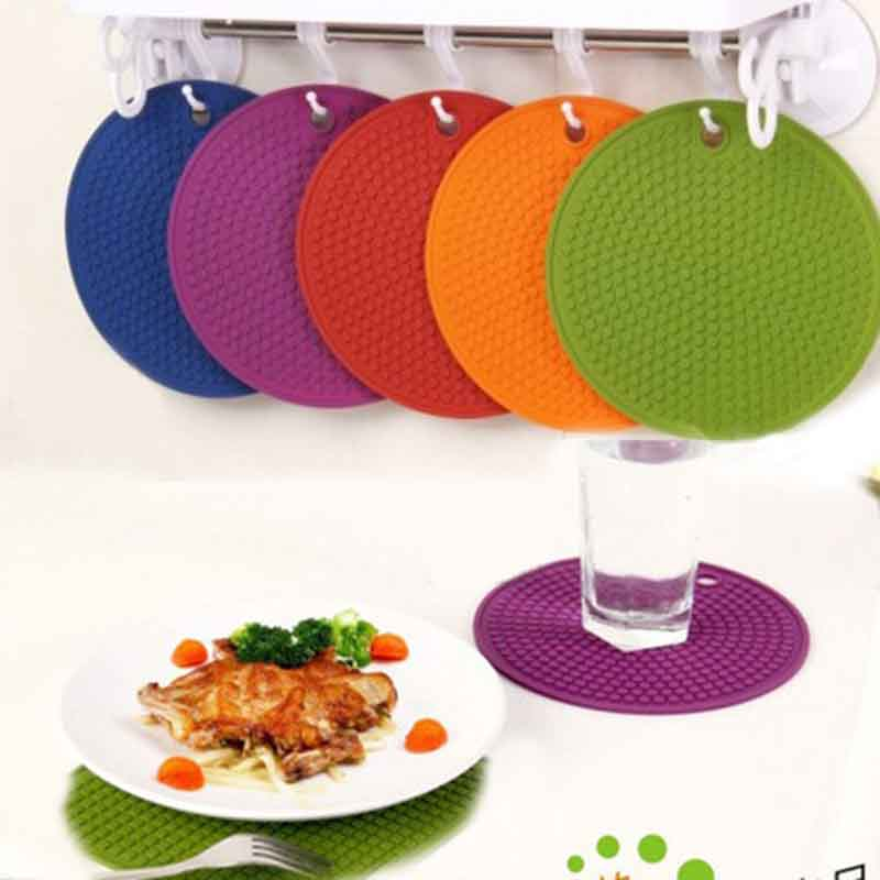 Silicone Round Non-slip Heat Resistant Mat Placemat Durable Cushion Pot Holder Oven