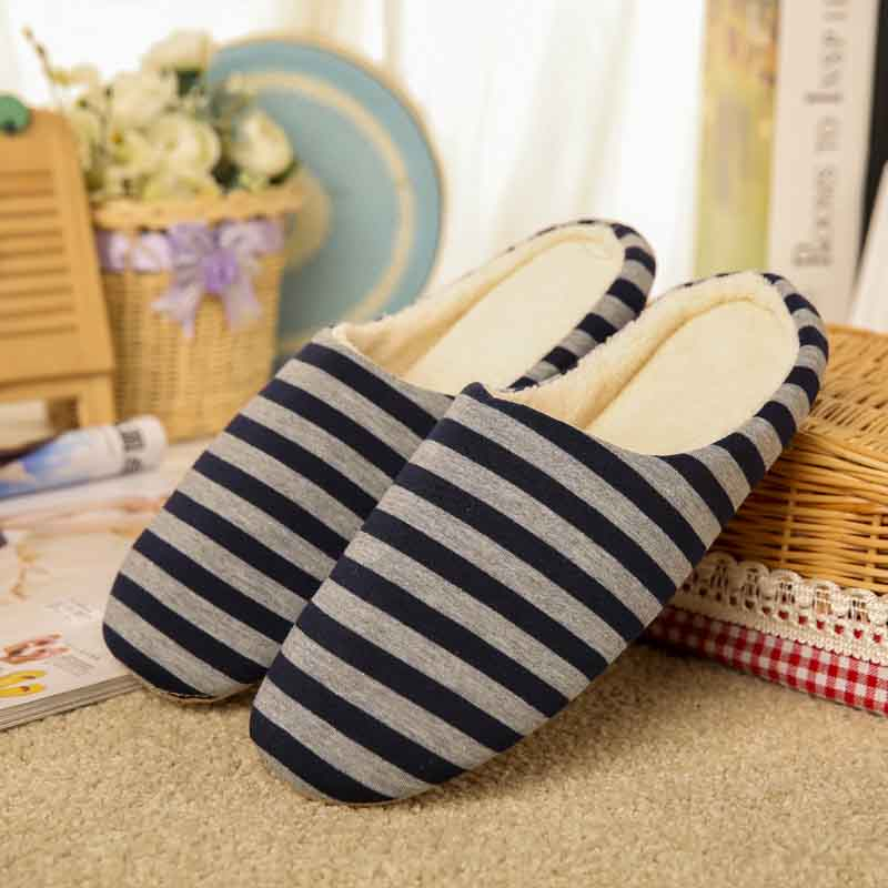 Men Winter Soft Sole Warm Slippers Indoor Floor Stripe Shoes Non-slip House Shoes