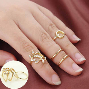 4 Rings Of A Set Silver/Gold Plated Leaf Heart Joint Knuckle Nail Ring Set