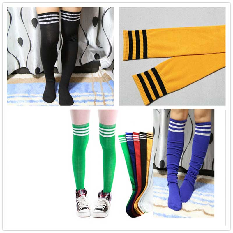 Multicolor Sport Over Knee Three Striped Tube Socks Candy Color Cotton Soccer Football Basketball Socks