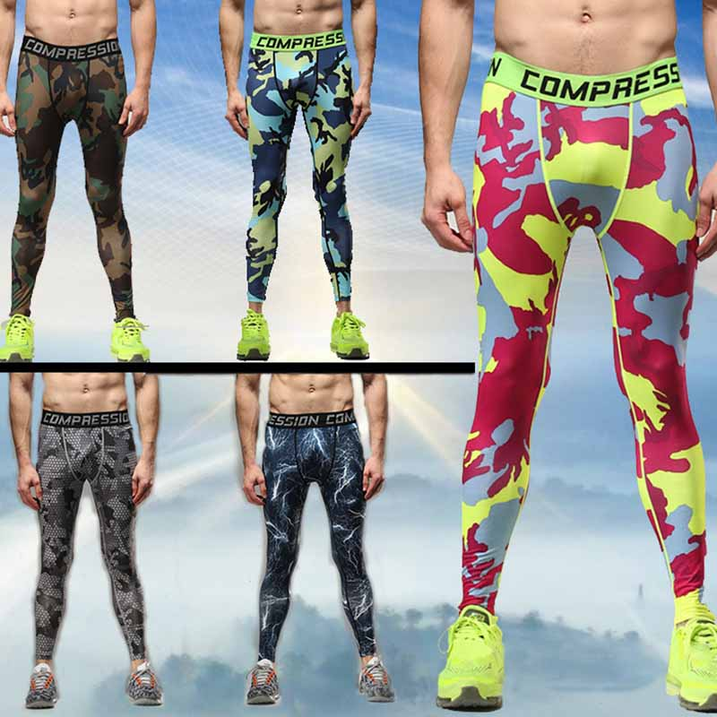 Man High Elastic Training Pants Exercise Bodybuilding Pants Run Compress Tight Camouflage Male Trousers