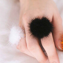 Fashion Ornaments Female Trichoma Fuzz Ball Mink Hair Ring Opening Index Finger Ring