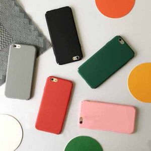 Solid Color Scrub Non-slip iPhone Case Simple Lover Mobile Phone Shell
