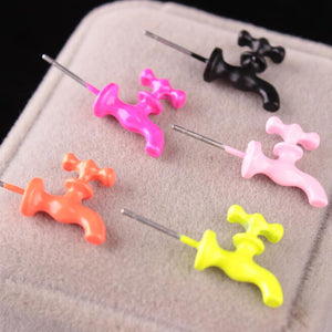 Personality Exaggeration Punk Water Tap Fluorescence Colorful Ear Studs