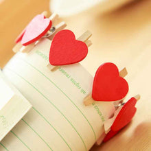 10 Pcs Lovely Heart Shaped Clip Red Peach Wooden Clip DIY Memo Clip