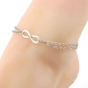 Ladies Fashion Alloy Anklet Bracelet Infinity Double Deck Foot Chain