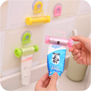 2 Pcs Rolling Tube Toothpaste Squeezer Toothpaste Hanger With Sucker(Random Color)