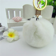 Bowknot Fur Pom Keychain Real Rex Rabbit Fur Ball Key Chians Fur Keyring Porte Clef LLavers Key Chain Bag Pendant Accessories